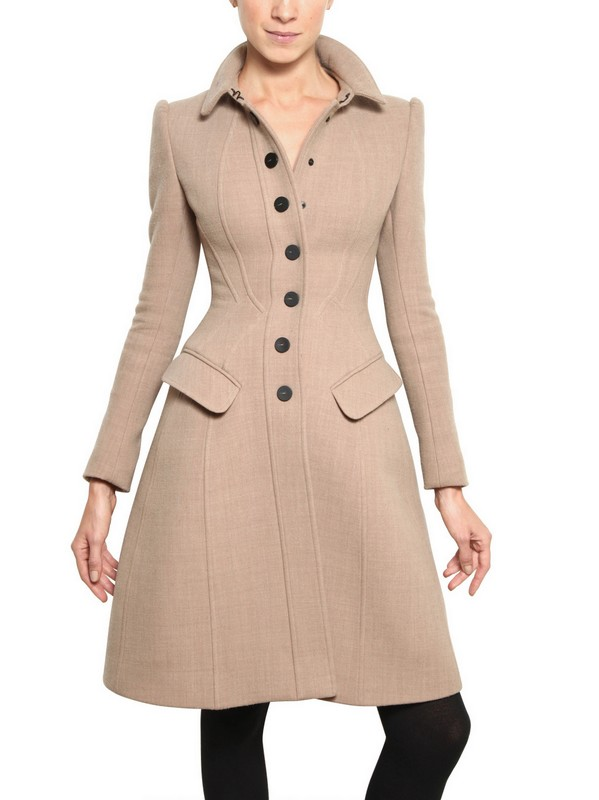 Burberry prorsum Heavy Wool Jersey Coat in Natural | Lyst