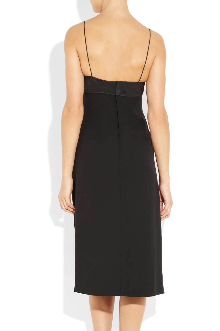 calvin klein koko stretchcrepe slip dress in black lyst. Black Bedroom Furniture Sets. Home Design Ideas
