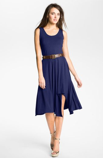 Calvin Klein Belted Jersey Dress - Lyst