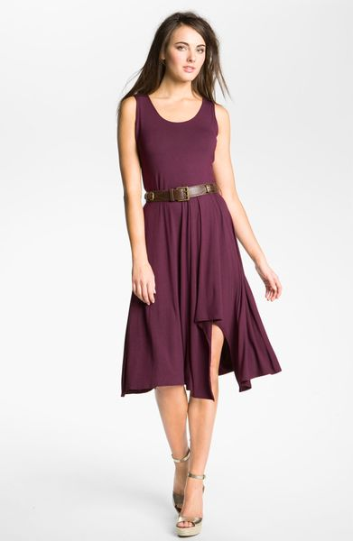 Calvin Klein Belted Jersey Dress in Purple (sangria) - Lyst