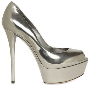 Casadei 140mm Metallic Calf Open Toe Pumps - Lyst