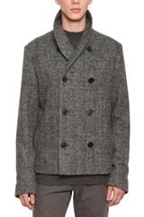 Dior Homme Brushed Herringbone Wool Coat - Lyst