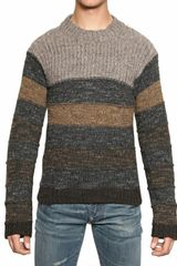 Dolce & Gabbana Striped Wool Mix Knit Sweater - Lyst