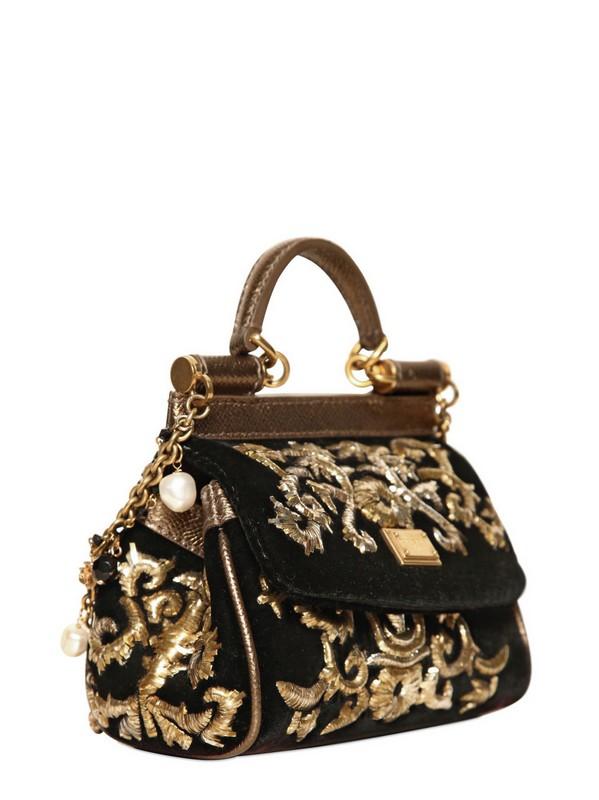9c7a0921950c Lyst - Dolce   Gabbana Mini Miss Sicily Embroidered Velvet Bag in Black