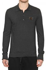 Dolce & Gabbana Pique Cotton Long Sleeved Polo Shirt - Lyst