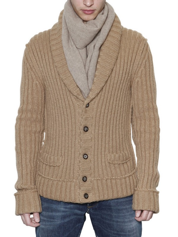 Dolce & gabbana Wool Ribbed Cardigan Sweater in Brown for Men | Lyst