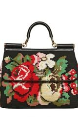 Dolce & Gabbana Miss Sicily Cross Stitched Top Handle - Lyst