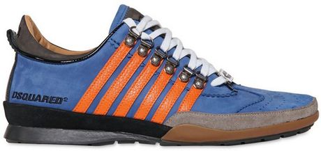 Dsquared2 Contrasting Stripes Suede Sneakers in Blue for Men - Lyst