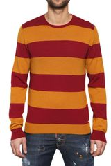 DSquared2 Stripey Wool Knit Round Neck Sweater - Lyst