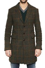 DSquared2 Heavy Checked Wool Coat - Lyst