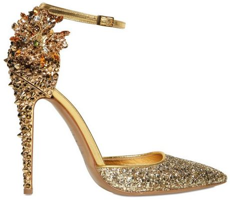 Dsquared² 110mm Lalique Crystal and Studs Pumps in Gold