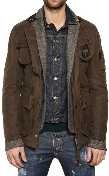 Dsquared2 Mixed Triple Layer Long Boobou Jacket in Green for Men - Lyst