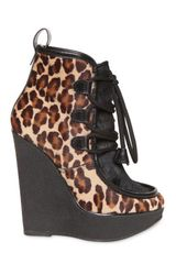 DSquared2 140mm Leopard Print Pony Skin Wedges - Lyst