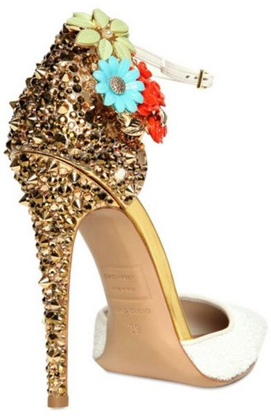 Dsquared² 110mm Lalique Studs and Flower Pumps in Gold (white)