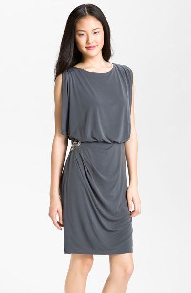 Eliza J Draped Blouson Jersey Dress in Gray (charcoal) - Lyst