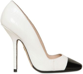 Emilio Pucci 120mm Patent Ostrich Square Toe Pumps - Lyst