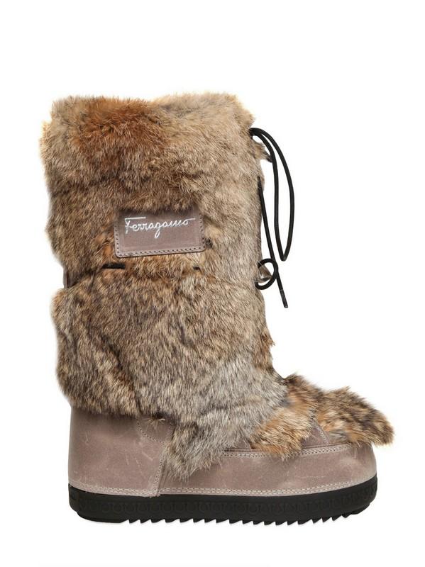 ferragamo 40mm tempest rabbit fur moon boots in brown lyst