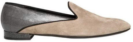 Giorgio Armani 10mm Suede and Lizard Loafers in Gray (grey)