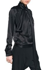 Givenchy Pussy Bow Silk Satin Shirt in Black - Lyst