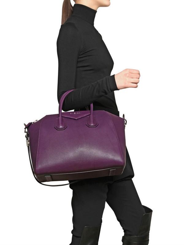 Lyst - Givenchy Medium Antigona Chic Leather Top Handle in Purple 818e3fed27778