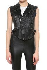 Horace Zipped Biker Leather Vest - Lyst