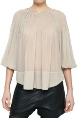 Isabel Marant Pleated Top Silk Georgette Top - Lyst