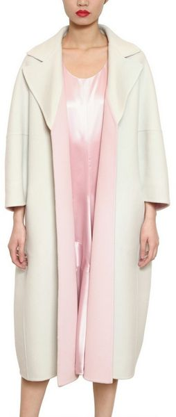 Jil Sander Two Tone Soft Cashmere Melton Coat - Lyst