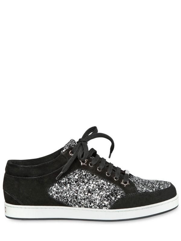 Coarse Jimmy Miami Glitter Black Sneakers In 20mm Suede Lyst Choo iukXTOPZ