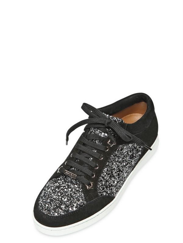 f028e7d1b038 Lyst - Jimmy Choo 20mm Miami Coarse Glitter Suede Sneakers in Black