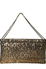 Jimmy Choo Large Canisa Sequined Clutch in Gold - Lyst