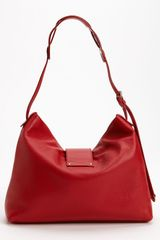 Jimmy Choo Rachel Small Grainy Calfskin Leather Shoulder Bag in Red - Lyst