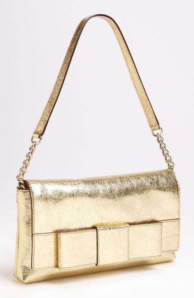 Kate spade ruby bow monette shoulder bag in gold lyst