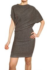 Lanvin Draped Wool Alpaca Knit Dress - Lyst