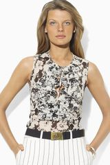 Lauren by Ralph Lauren Floral Sleeveless Ruffled Silk Blouse - Lyst