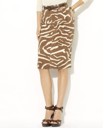 Lauren by Ralph Lauren Carrie Zebra Pencil Skirt - Lyst