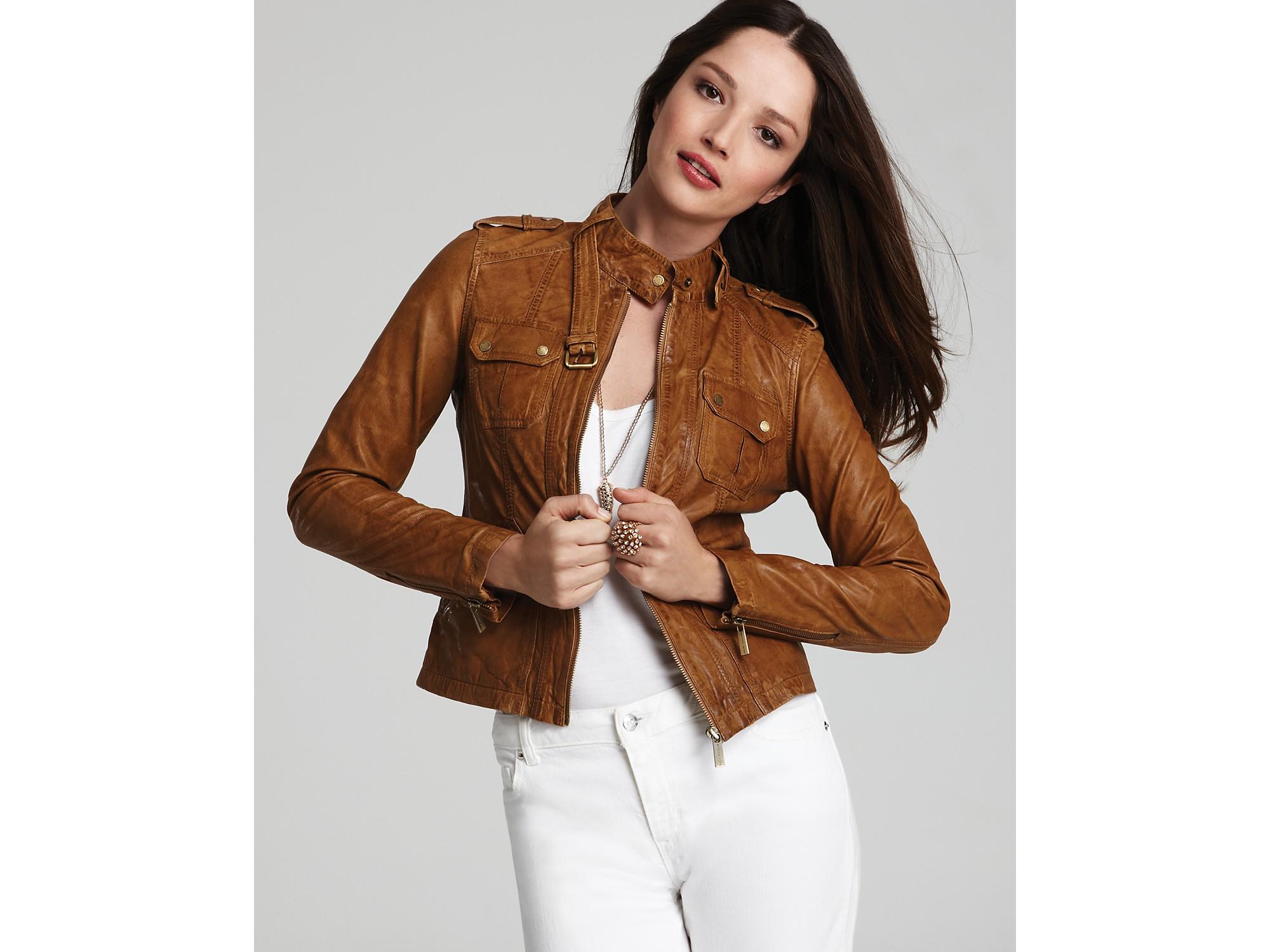 michael kors moto patch pocket leather jacket in brown dark camel lyst. Black Bedroom Furniture Sets. Home Design Ideas
