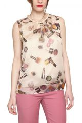 Moschino Cheap&chic Pearl Necklace Make Up Silk Chiffon Top - Lyst