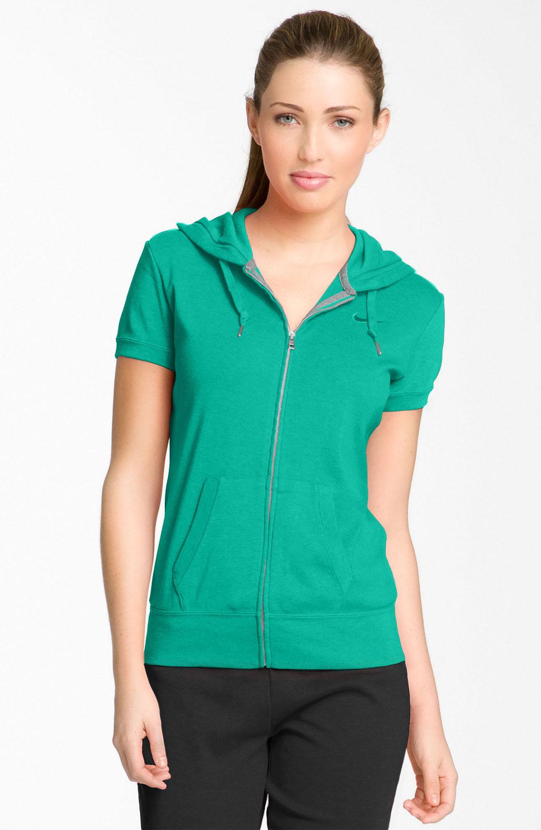 Green Short Sleeve Hoodie