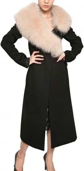 Nina Ricci Wolf Collar On Double Face Wool Coat in Black - Lyst