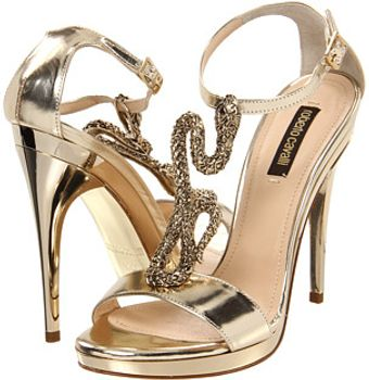 Roberto Cavalli Calf Sandal Pump with Gold Metal Snake Detail - Lyst
