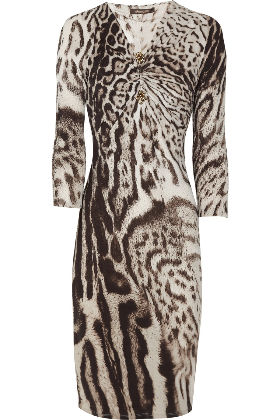 4fe09e7bce Lyst - Roberto Cavalli Animal-Print Stretch Jersey Dress in Brown
