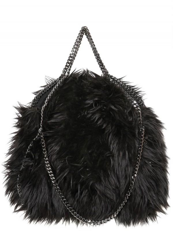 Lyst - Stella McCartney Falabella Three Chain Faux Fur Bag in Black 5cfb69ab75cda