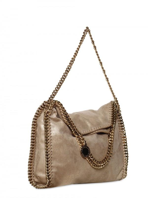 5b05232131 Lyst - Stella McCartney Falabella Gold Chain Faux Suede Bag in Metallic