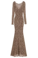 Temperley London Long Sleeved Lace Gown
