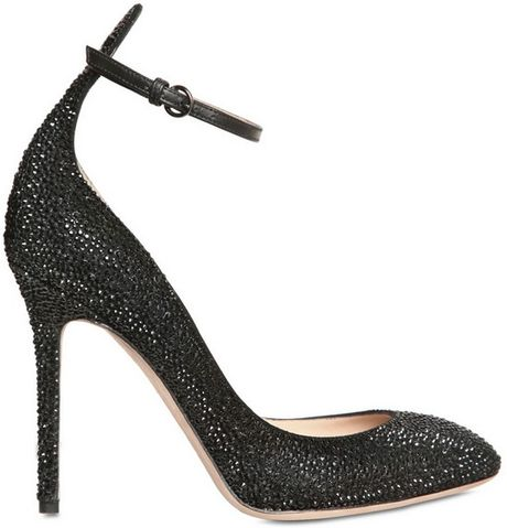Valentino 100mm Calf Suede Crystals Pumps in Black - Lyst