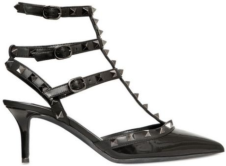 Valentino 65mm Rock Stud Patent So Noir Pumps in Black - Lyst