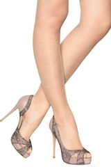 Valentino 120mm Nappa Lace Crystals Open Toe Pumps in Beige (nude) - Lyst