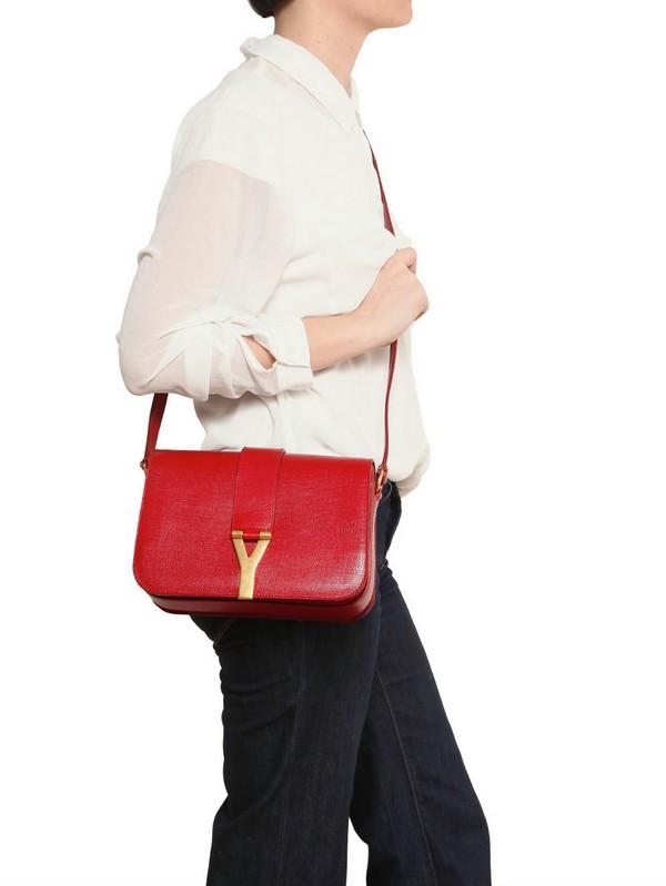 Saint laurent Medium Chyc Mini Tweed Leather Bag in Red | Lyst