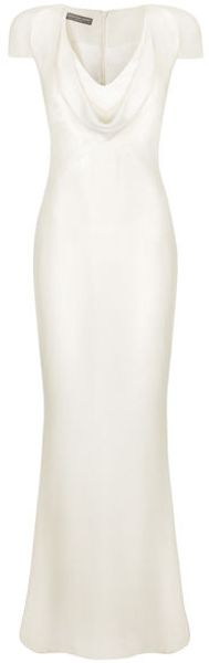 Alexander McQueen Ivory Cowl Neck Crepe Floorlength Dress - Lyst
