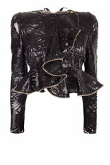 Alexander McQueen Laser Cut Patent Leather On Lace Wave Ruffle Jacket